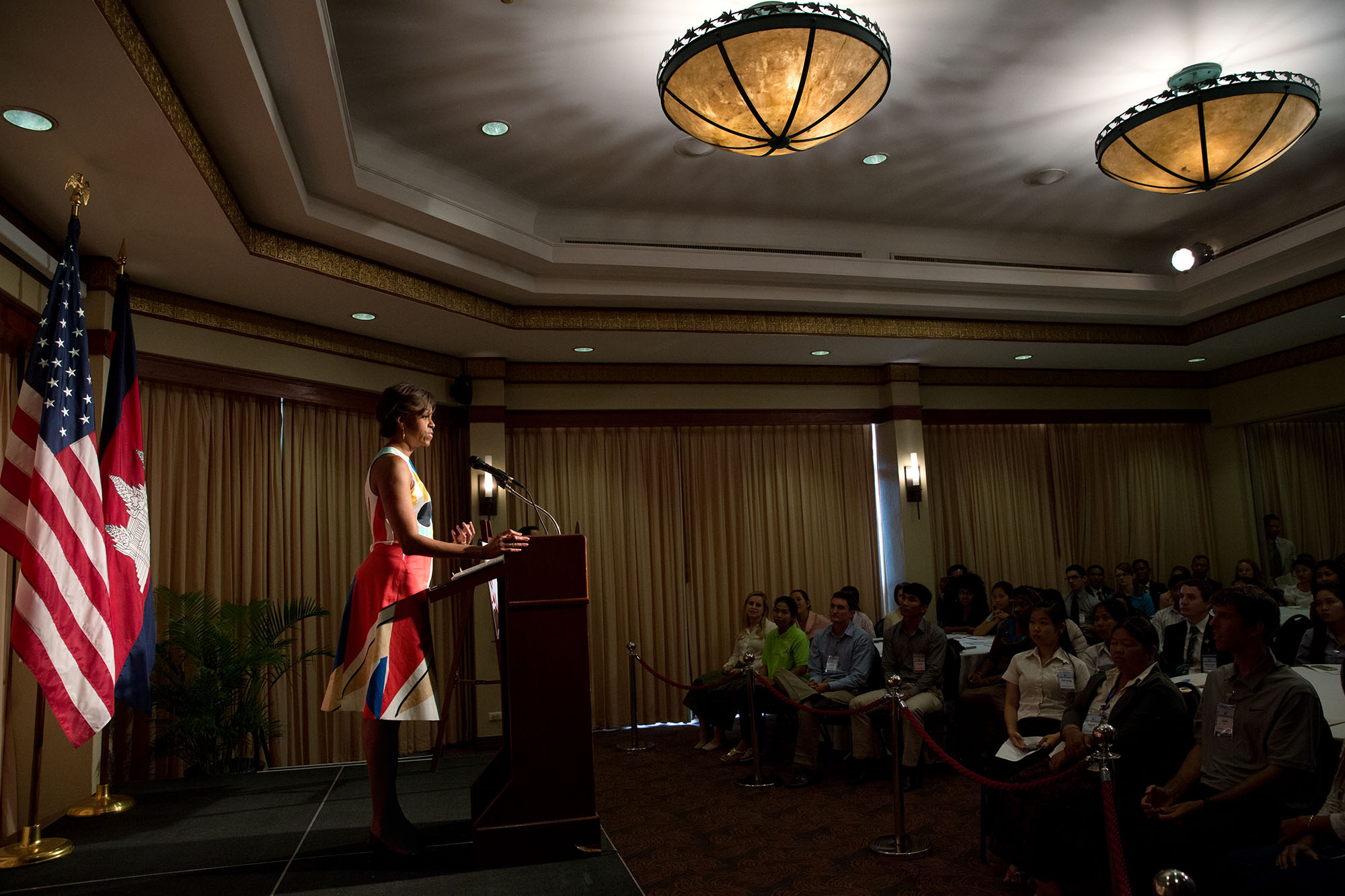 "The First Lady delivers remarks regarding the ""Let Girls Learn"" initiative to Peace Corps volunteers at the Sofitel Angkor Phokeethra. (Official White House Photo by Amanda Lucidon)"