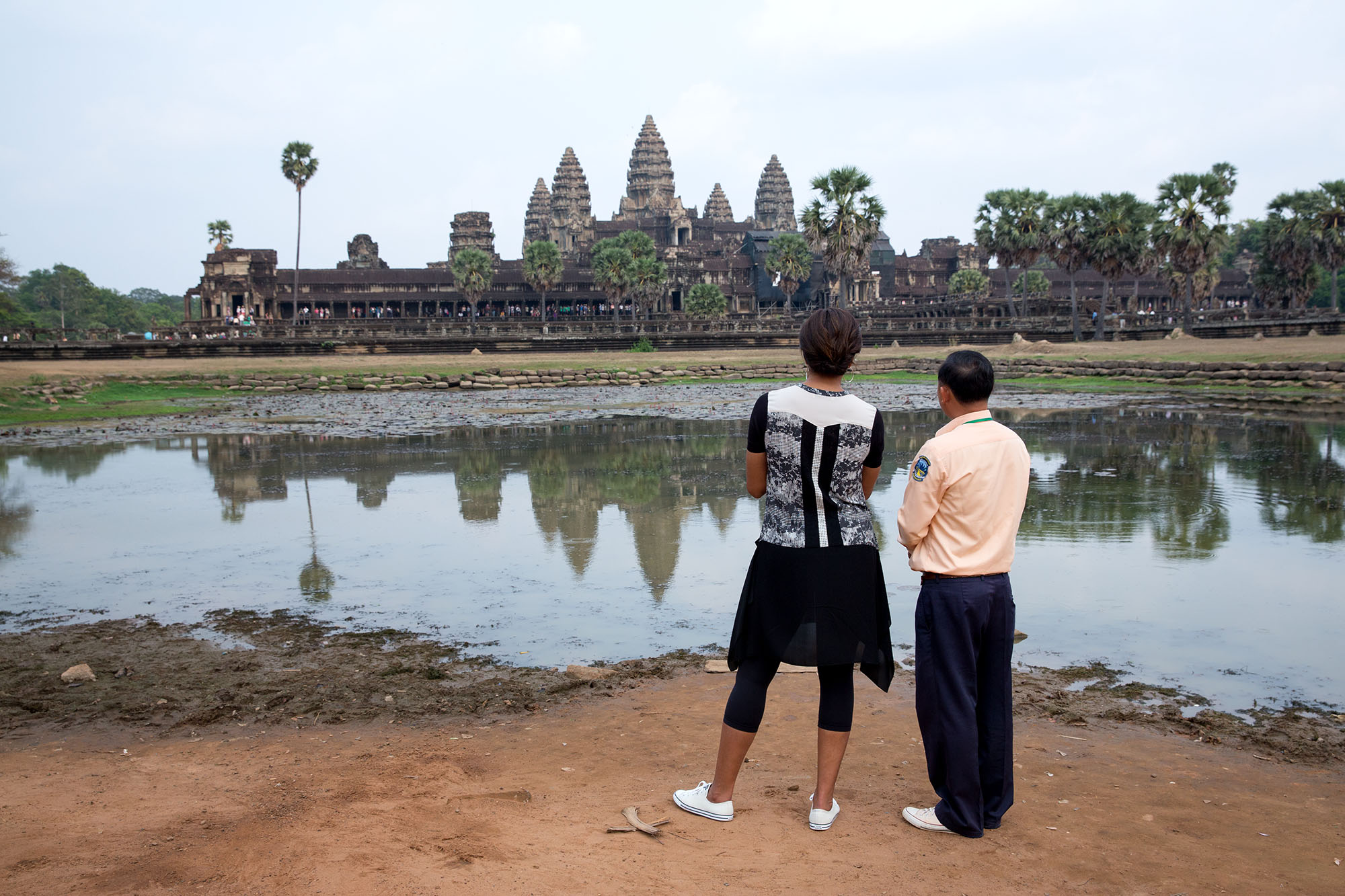 Mony Pech guides the First Lady on a tour of Angkor Wat in Angkor, Siem Reap Province, Cambodia. (Official White House Photo by Amanda Lucidon)
