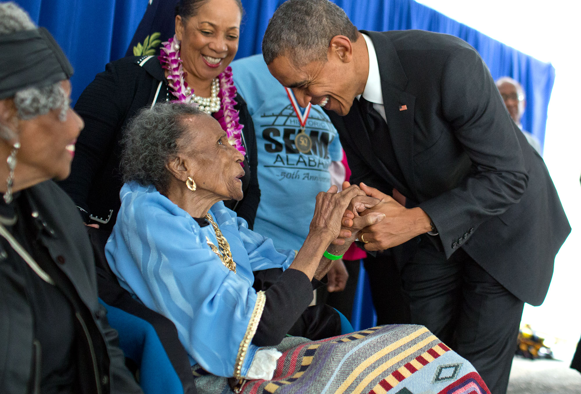 In Selma, the President greets former foot soldier Amelia Boynton Robinson, 103 years old, backstage before the ceremony. (Official White House Photo by Pete Souza)