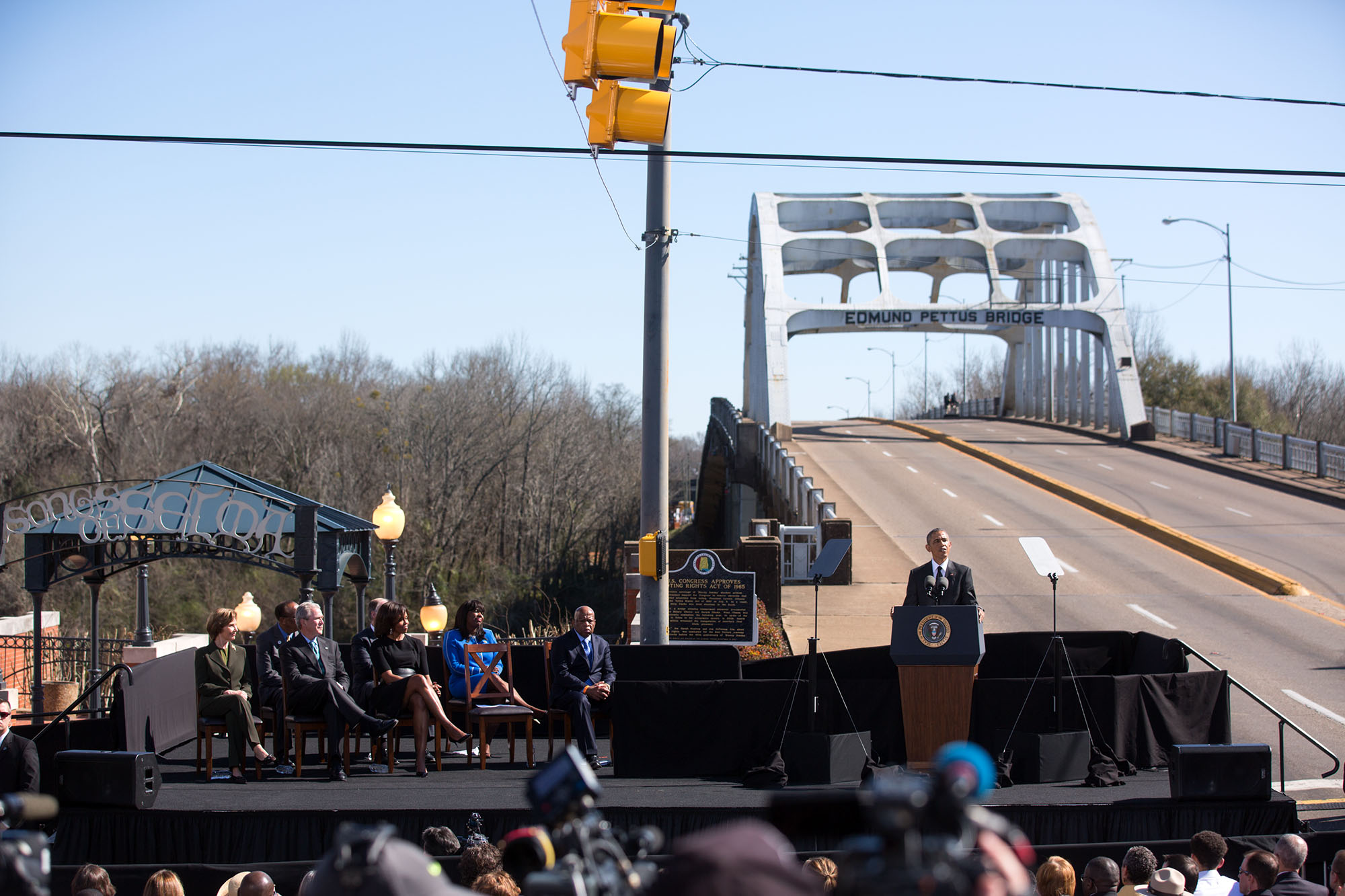 President Obama delivers remarks at the foot of the Edmund Pettus Bridge (Official White House Photo by Lawrence Jackson)