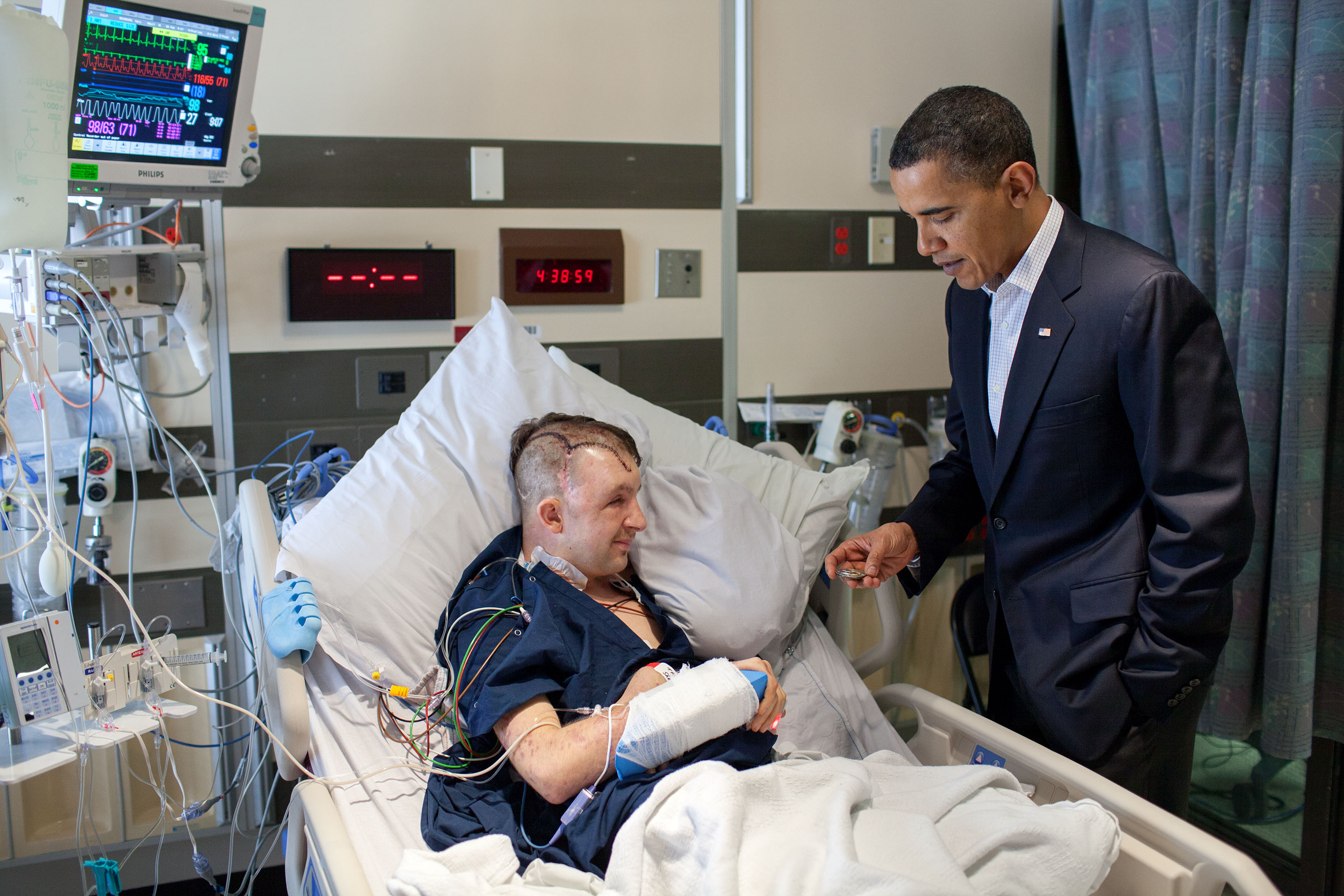 Feb. 28, 2010: President Obama visits Cory Remsburg at the National Naval Medical Center in Bethesda, Md. (Official White House Photo by Pete Souza)