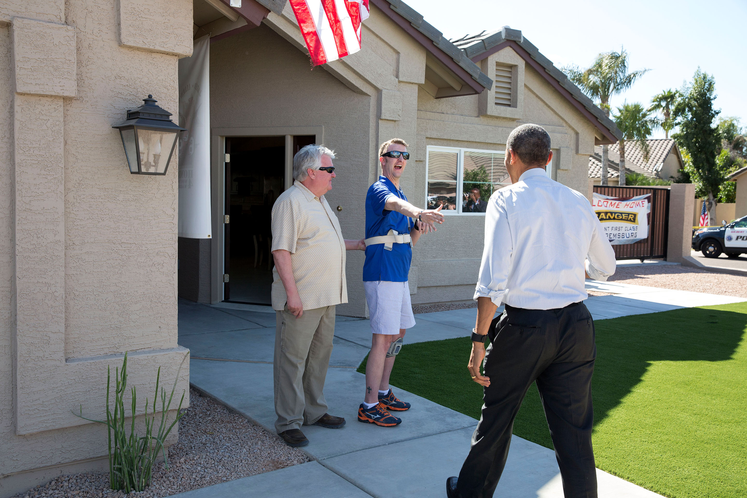 March 13, 2015: Cory and his father greet the President at Cory's newly finished home in Gilbert, Ariz. (Official White House Photo by Pete Souza)