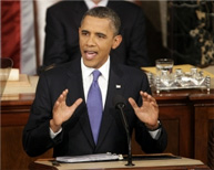 Photo of President Obama speaking at the 2012 State of the Union
