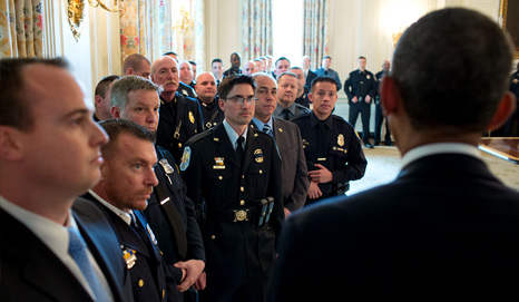 President Barack Obama greets Top Cops in the State Dining Room prior to a ceremony to honor the National Association of Police Organizations Top Cops award winners in the East Room of the White House, May 12, 2014