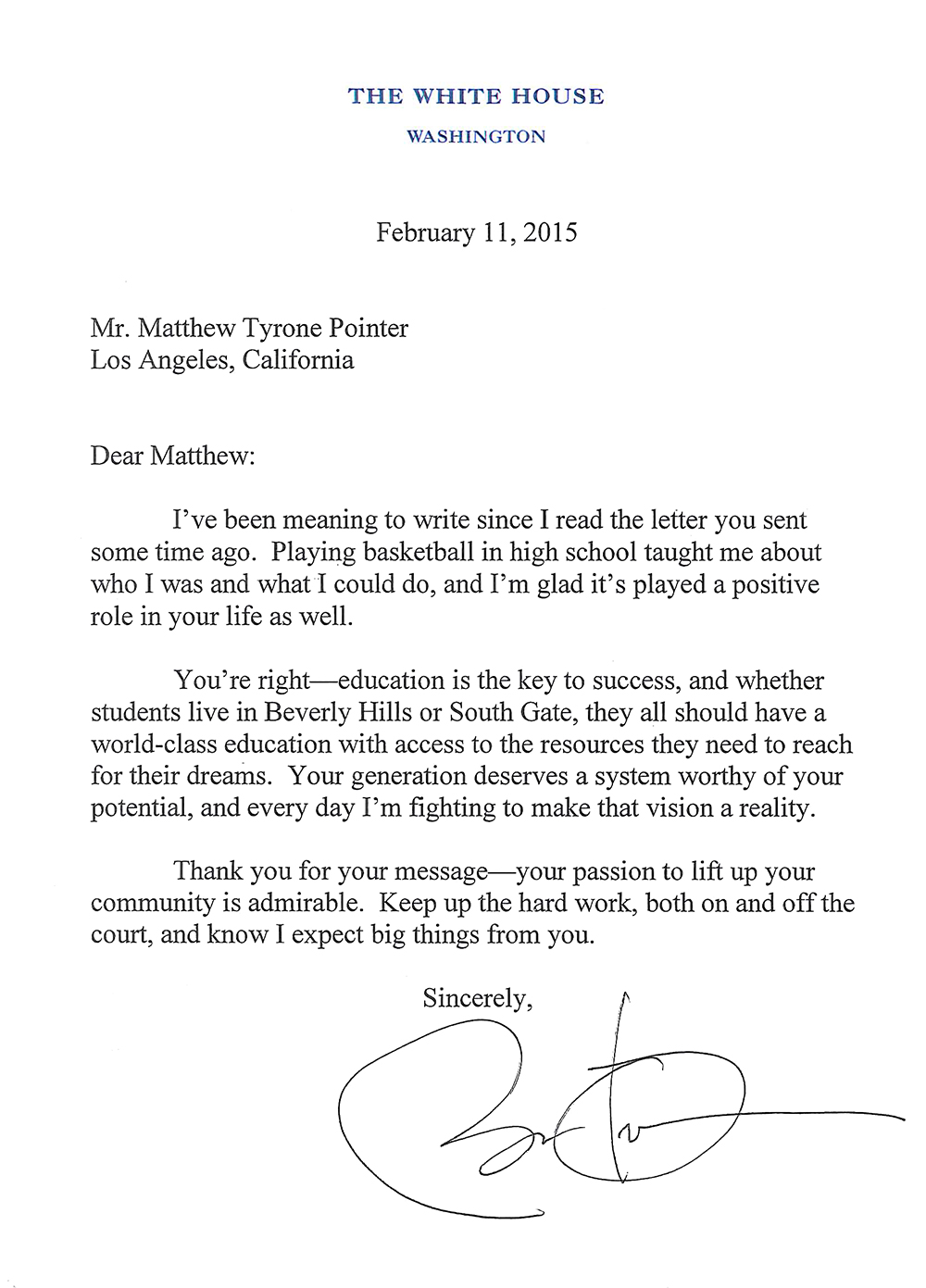 writing to president obama
