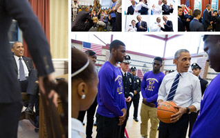 President Barack Obama talks with students and law enforcement officials