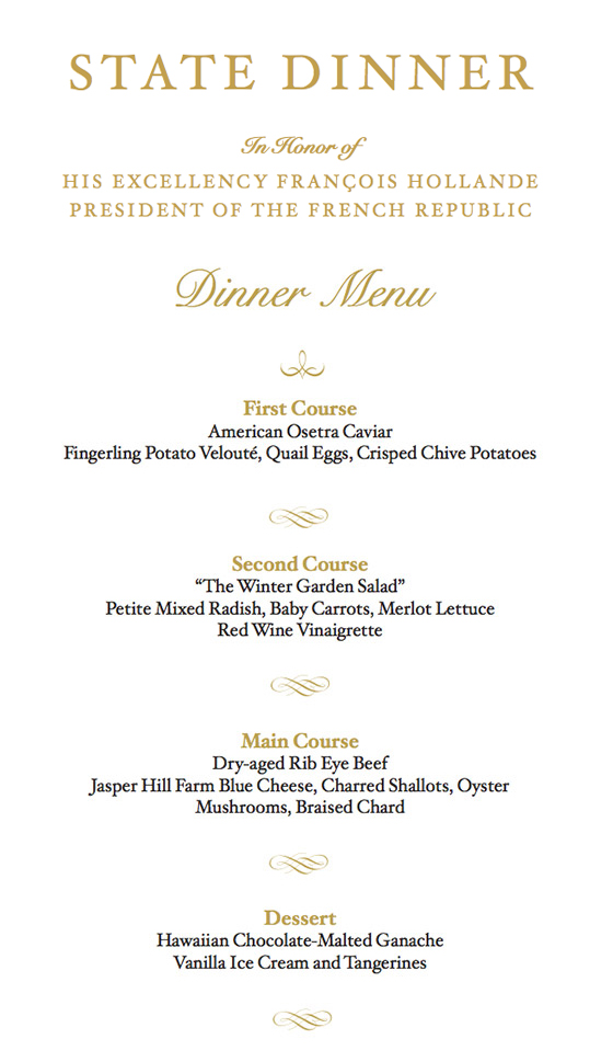 behind the scenes at the france state dinner see the menu