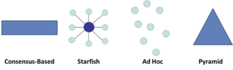 Graphic showing four types of organizational structures (consensus-based, starfish, ad hoc, and pyramid).