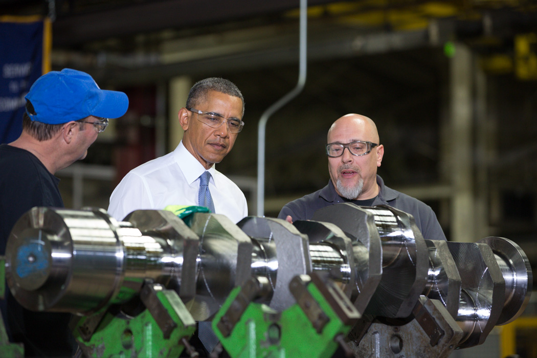 President Barack Obama tours General Electric's Waukesha Gas Engines Facility in Milwaukee, Wis., Jan. 30, 2014.
