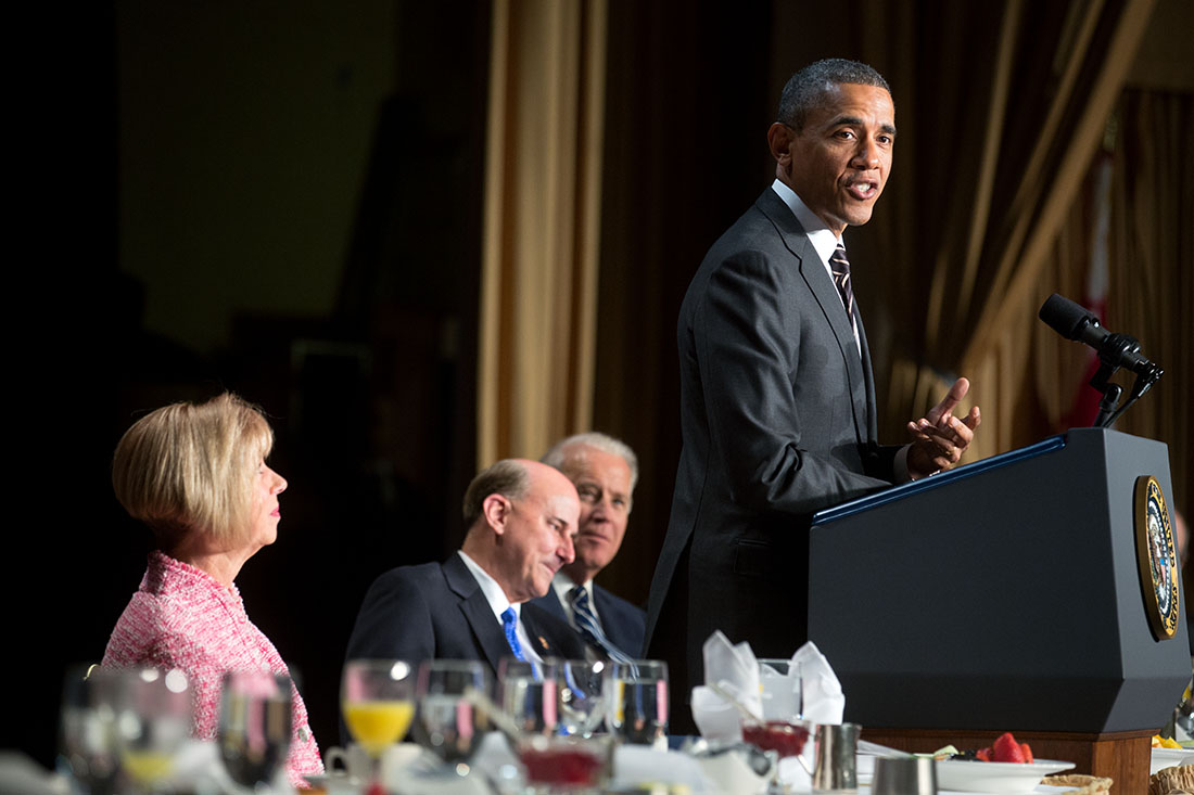 President Barack Obama delivers remarks during the National Prayer Breakfast