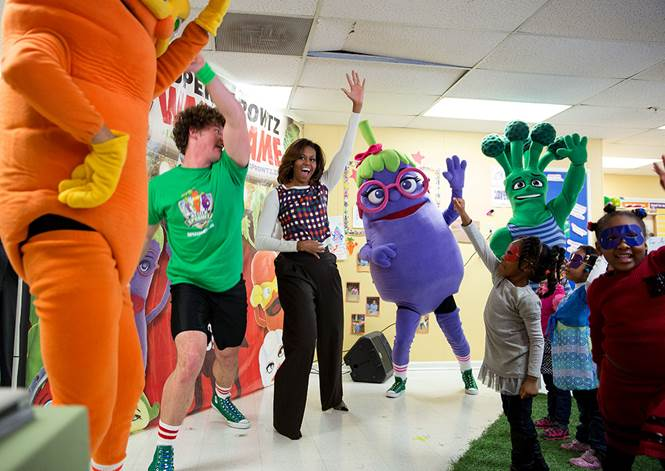 First Lady Michelle Obama joins children for a Super Sprowtz show, a