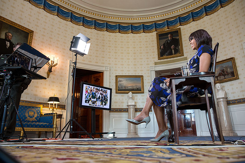 First Lady Michelle Obama participates in the Let's Move! Google+ Hangout
