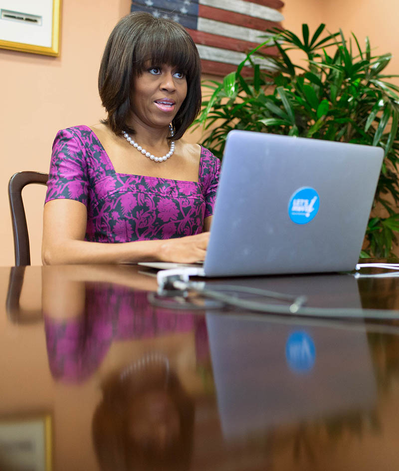 "First Lady Michelle Obama participates in a ""Let's Move!"" Twitter Office Hour in the First Lady's East Wing Office of the White House"