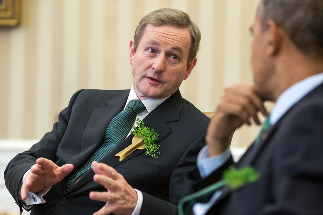 President Barack Obama holds a bilateral meeting with Prime Minister Enda Kenny of Ireland in the Oval Office, March 14, 2014.