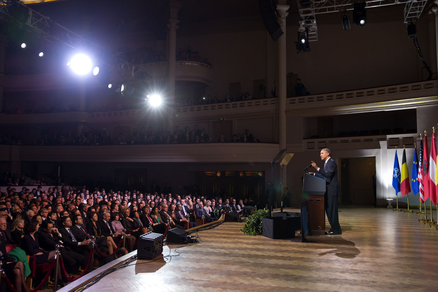 President Barack Obama delivers remarks at the Palais Des Beaux Arts (BOZAR) in Brussels, Belgium, March 26, 2014.