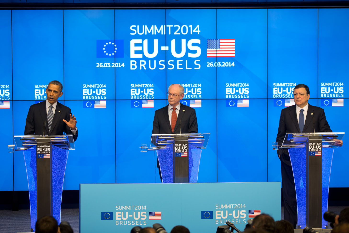 President Barack Obama, European Council President Herman Van Rompuy, and European Commission President José Manuel Barroso hold a press conference during the EU-U.S. Summit at the Council of the European Union in Brussels, Belgium, March 26, 2014.