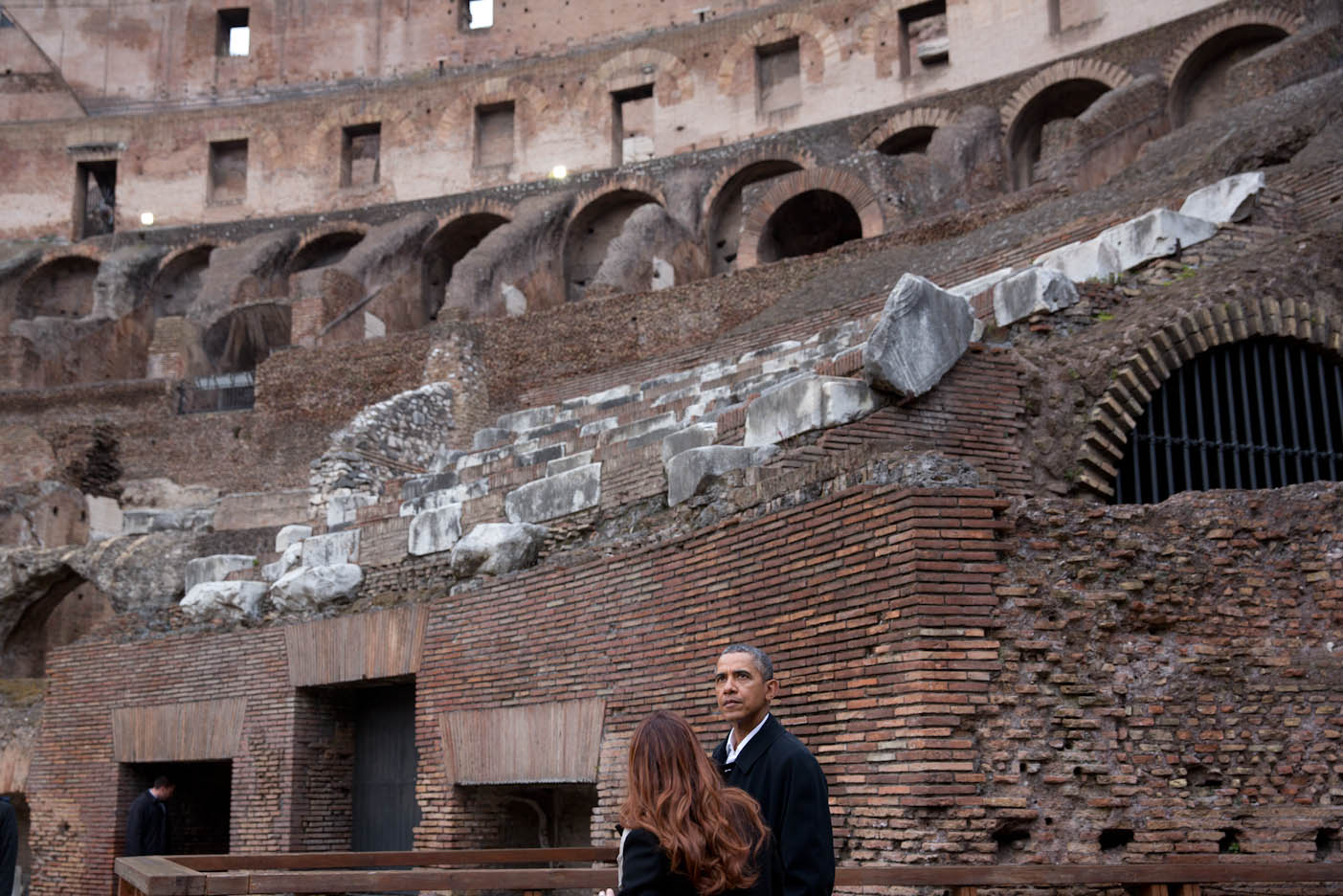 President Barack Obama with Barbara Nazzaro, Technical Dir. and Architect of the Colosseum, tour the Colosseum in Rome, Italy, March 27, 2014.