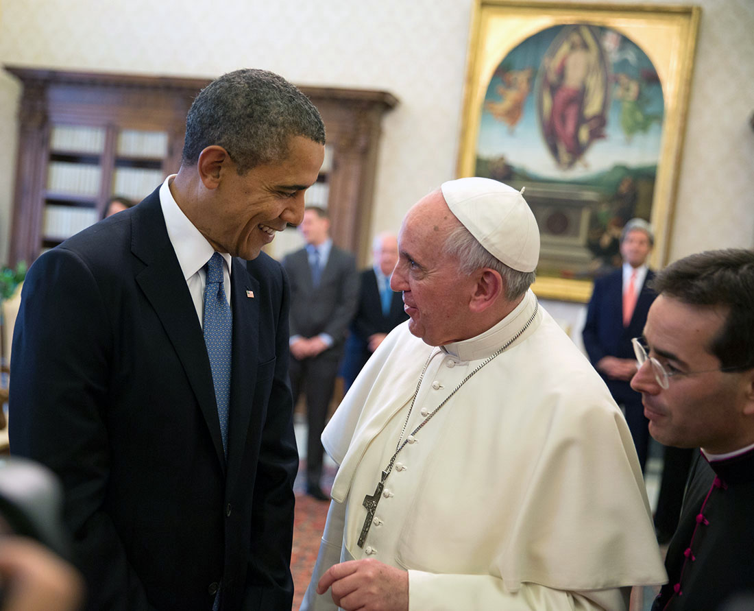 President Barack Obama meets with Pope Francis for a private audience in Vatican City, Italy, March 27, 2014.