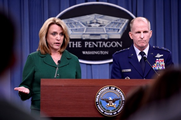 Secretary of the Air Force Deborah Lee James and Lt. Gen. Stephen Wilson provide an update, Jan. 30, 2014, in the Pentagon, on the investigation of compromised test materials at Malmstrom Air Force Base, Mont.