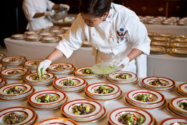 White House Executive Chef Cris Comerford plates Quinoa Black Bean and Corn Salad
