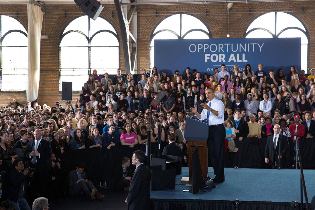 President Barack Obama delivers remarks on the minimum wage, at the University of Michigan in Ann Arbor, Mich., April 2, 2014.