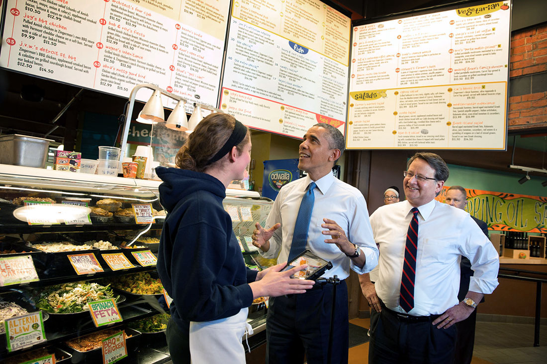 President Barack Obama and Rep. Gary Peters, D-Mich. stop for lunch at Zingerman's Delicatessen in Ann Arbor, Mich., April 2, 2014.