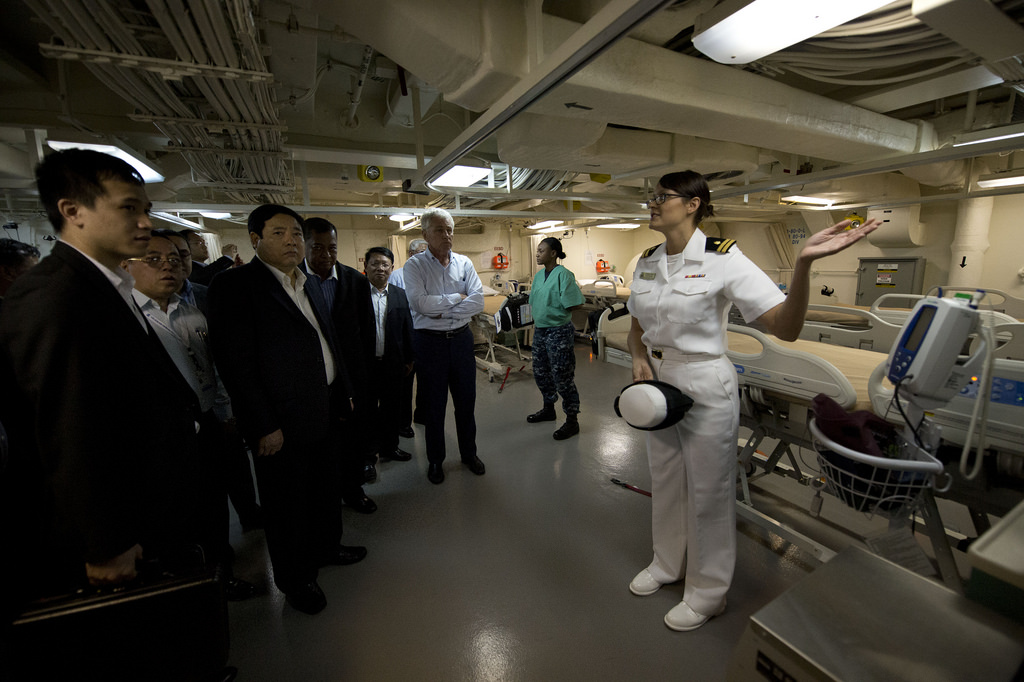 Secretary of Defense Chuck Hagel tours the USS Anchorage LPD-23 along with defense ministers from the Association of South East Asian Nations in Honolulu, Hawaii, April 2, 2014.