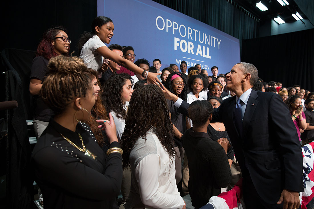 President Barack Obama shakes hands with the students on stage following remarks and announcing the winners of the Youth CareerConnect Competition, at Bladensburg High School in Bladensburg, Maryland, April 7, 2014.