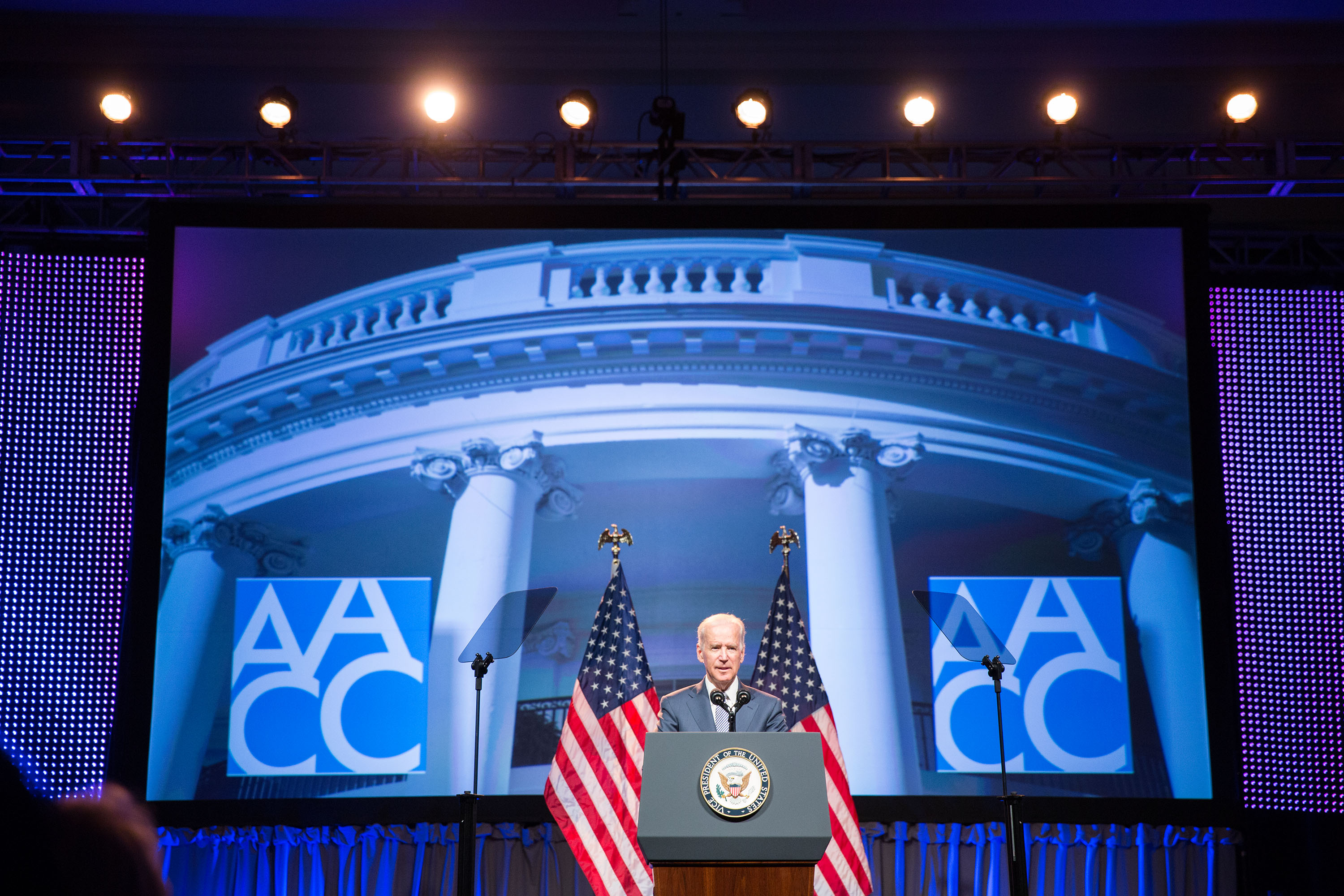 Vice President Joe Biden speaks at the 94th Annual Convention of the American Association of Community Colleges in Washington, D.C., April 7, 2014.