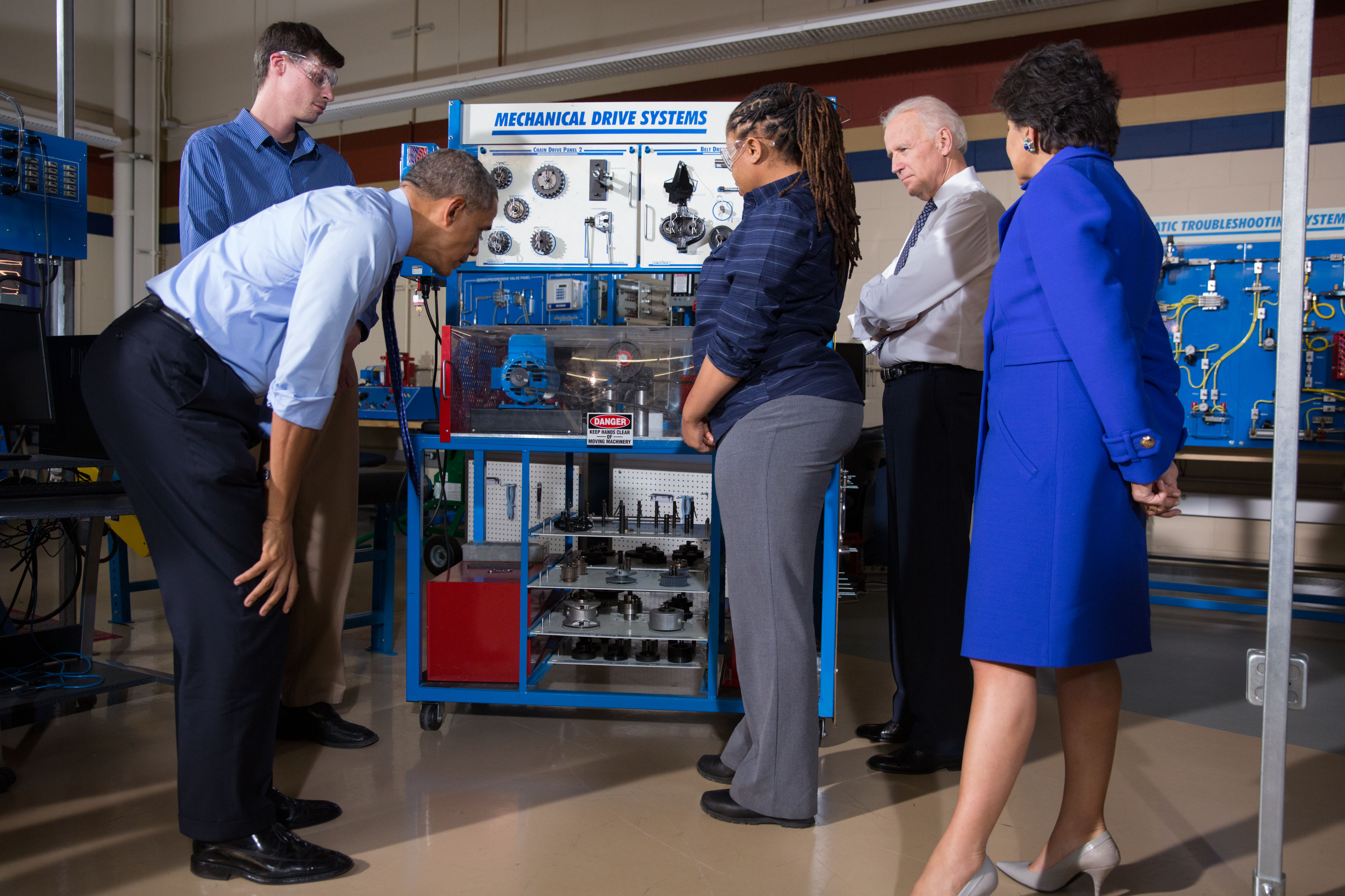 President Barack Obama, Vice President Joe Biden, and Commerce Secretary Penny Pritzker tour a classroom at the Community College of Allegheny County West Hills Center in Oakdale, Pa.