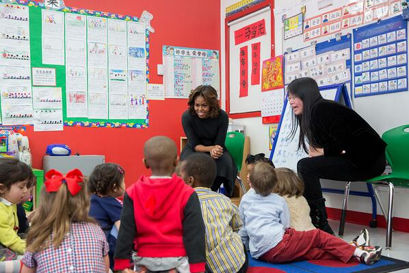 First Lady Michelle Obama meets with students in a pre-K classroom at the Yu Ying Public Charter School, a Chinese-immersion, International Baccalaureate elementary school in Washington, D.C., March 4, 2014.