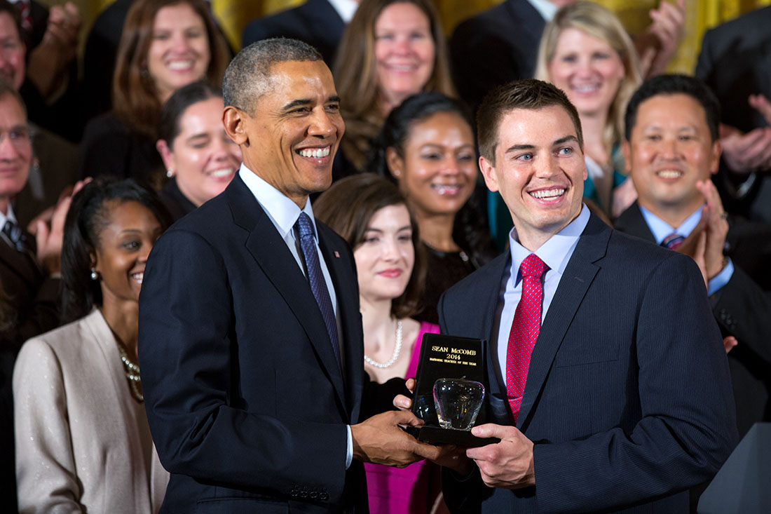 President Barack Obama honors Sean McComb, National Teacher of the Year, and finalists in the East Room of the White House, May 1, 2014.