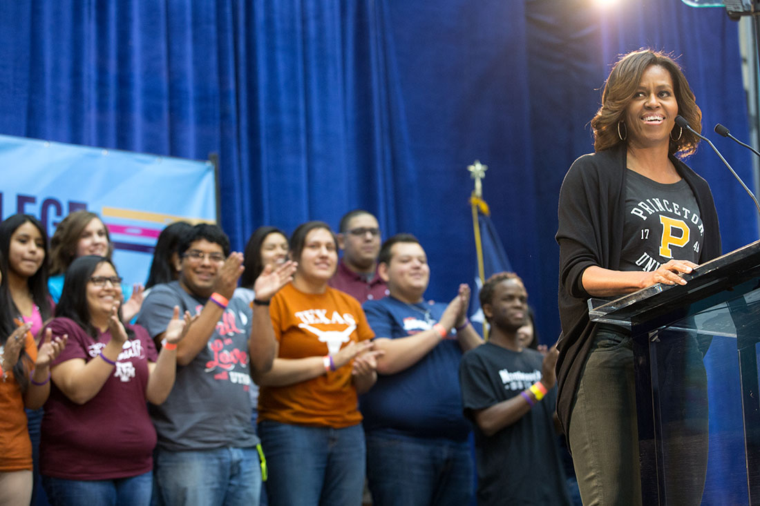 First Lady Michelle Obama delivers remarks in support of higher education during the fourth annual College Signing Day at the University of Texas at San Antonio, in San Antonio, Texas, May 2, 2014.