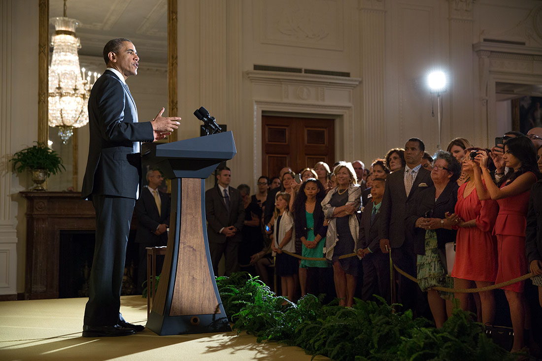President Barack Obama delivers remarks at a Cinco de Mayo reception in the East Room of the White House, May 5, 2014.