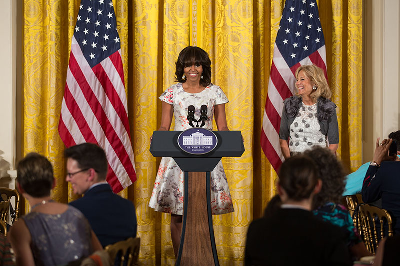 First Lady Michelle Obama delivers remarks at a Joining Forces initiative Mother's Day tea