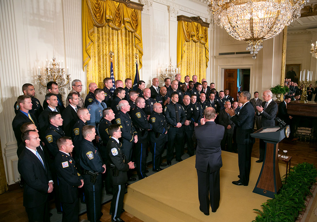 President Barack Obama and Vice President Joe Biden honor the 2014 National Association of Police Organizations TOP COPS award winners in the East Room of the White House, May 12, 2014.