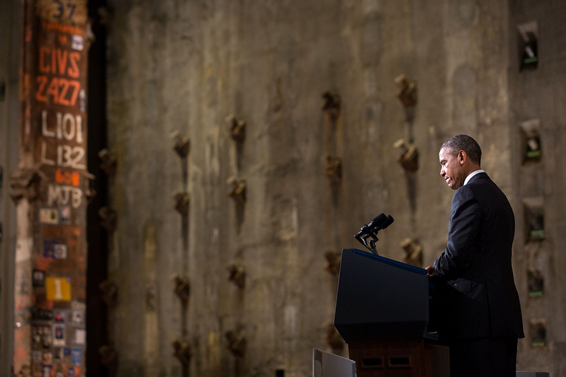 President Barack Obama delivers remarks during the National September 11 Memorial & Museum dedication ceremony in New York, N.Y., May 15, 2014.