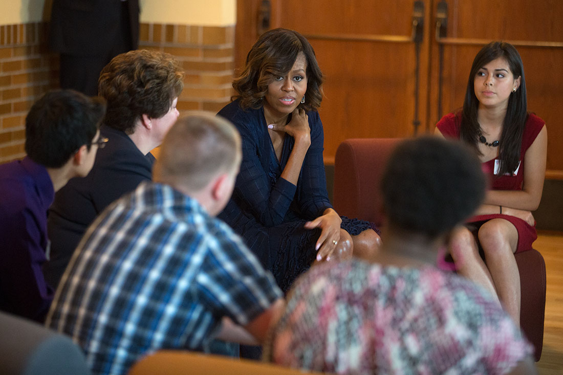 First Lady Michelle Obama meets with high school students at the Brown v. Board of Education National Historic Site in Topeka, Kan., May 16, 2014.