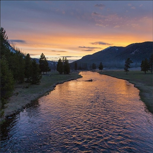 Spring sunset on the Madison River in Yellowstone National Park.