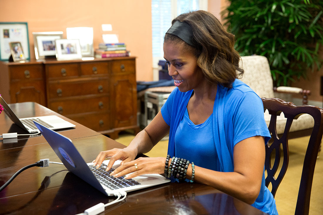 First Lady Michelle Obama participates in a Twitter chat to discuss school nutrition and the White House Kitchen Garden