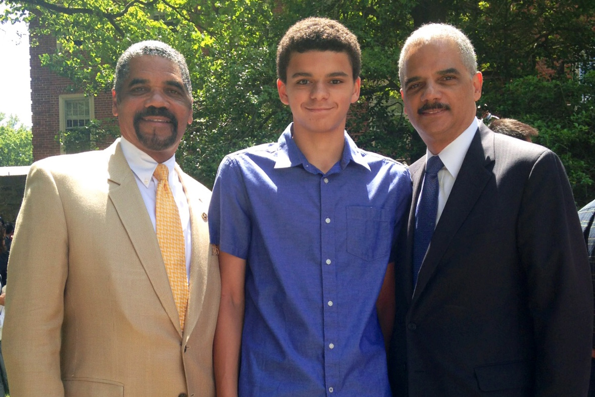 Attorney General Holder With His Son, Eric Holder III