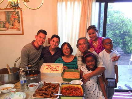 Jason Tengco with his family during a gathering in the San Francisco Bay Area
