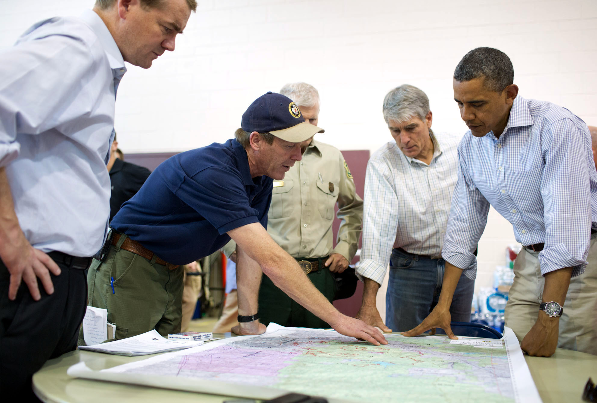 President Barack Obama Looks at a Map of Fires