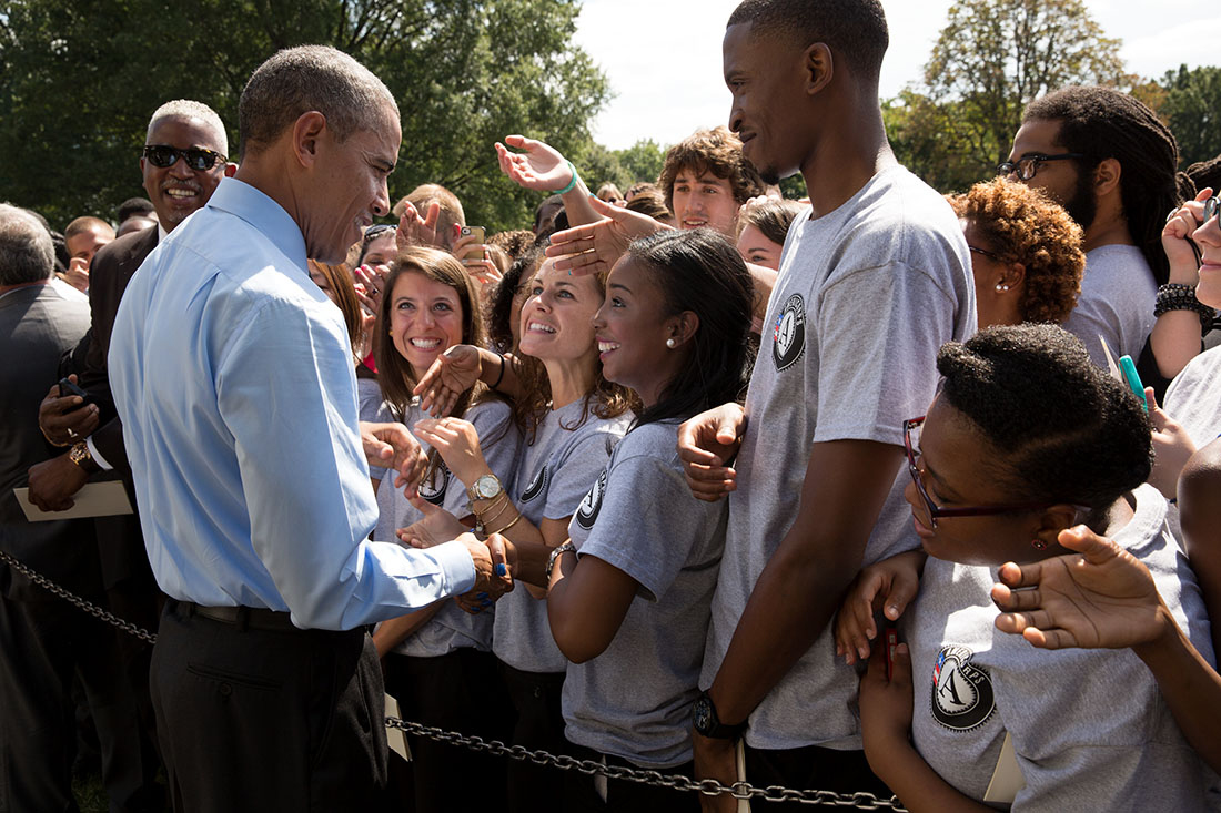 President Barack Obama greets participants after remarks to mark the 20th anniversary of the AmeriCorps national service program