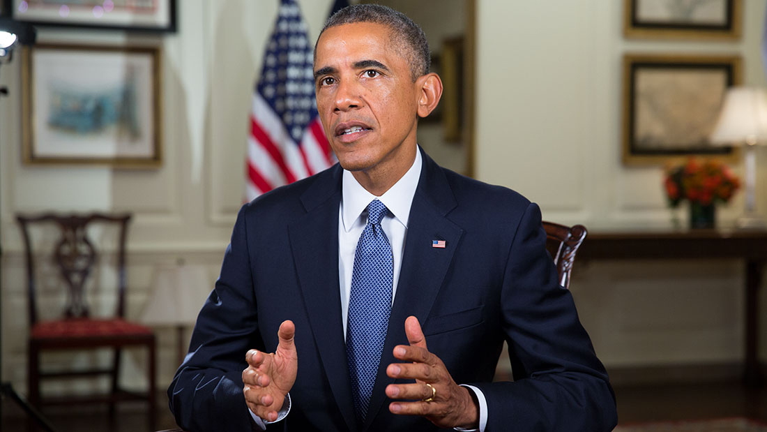 President Barack Obama tapes the Weekly Address in Map Room of the White House, Sept. 19, 2014.