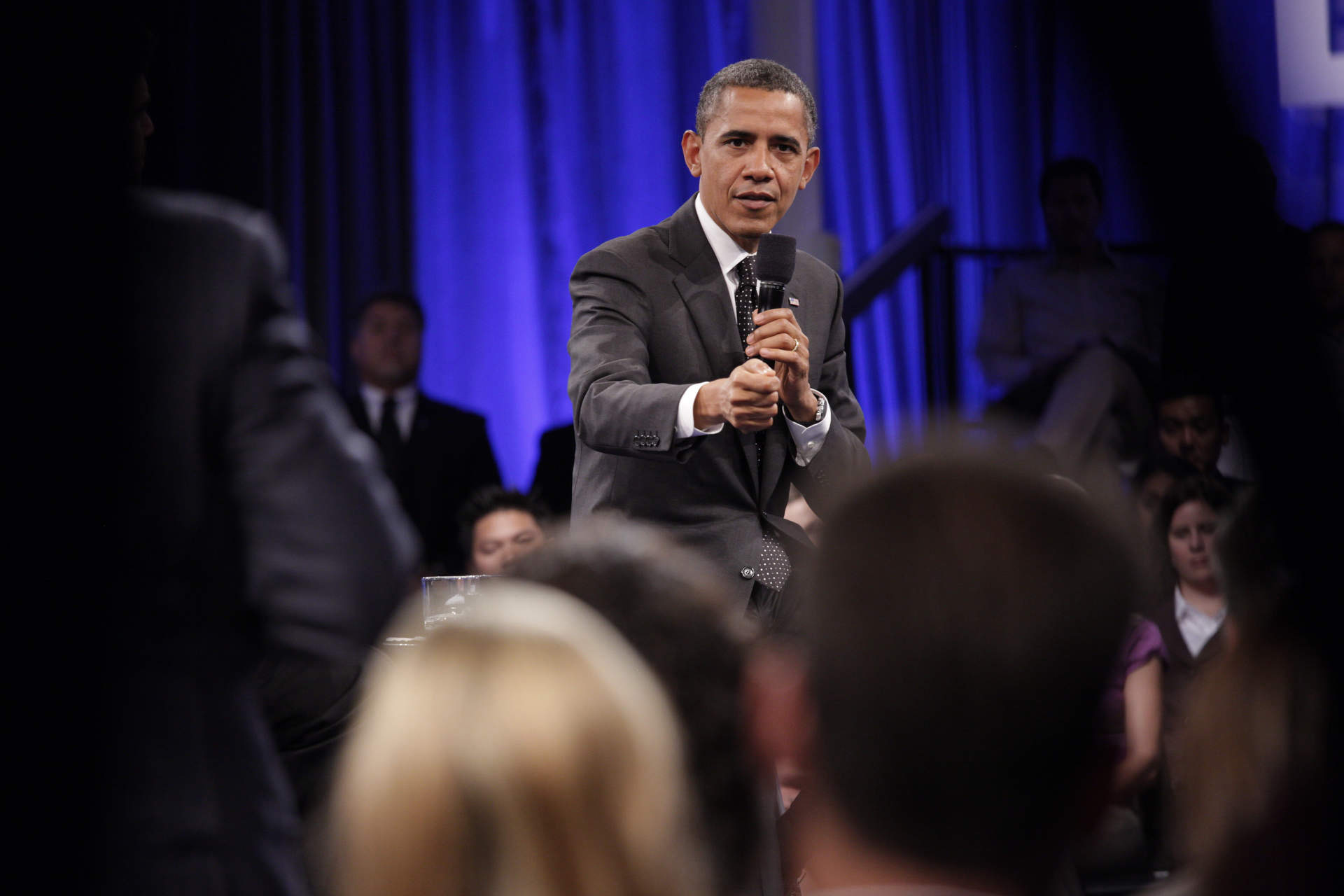 President Barack Obama answers a question during a Town Hall sponsored by LinkedIn