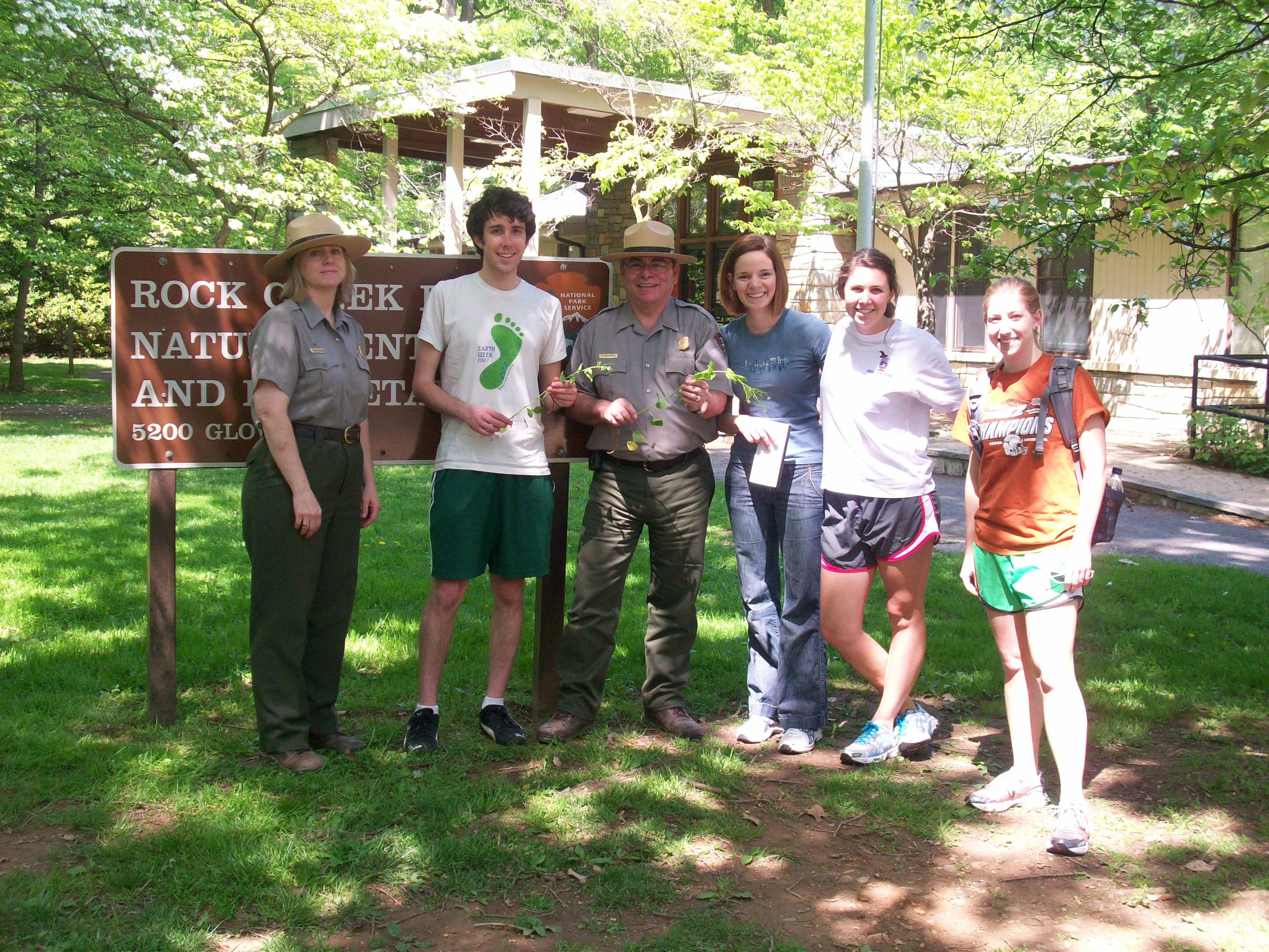CEQ interns with two Rock Creek Park rangers