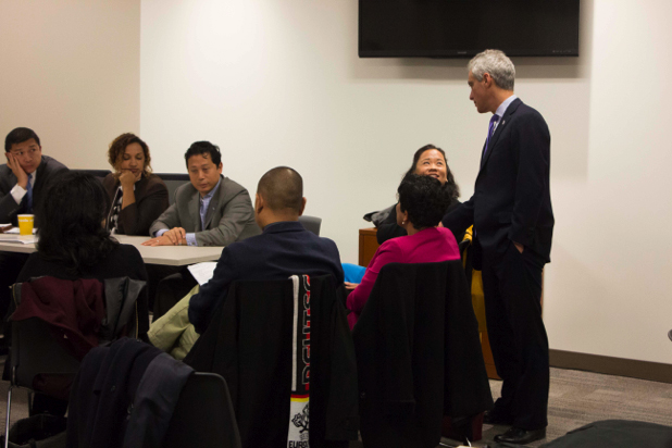 Mayor of Chicago Rahm Emanuel greets community leaders during the White House Initiative on AAPIs Region 5 AAPI Community Listening Session at Chicago City Hall