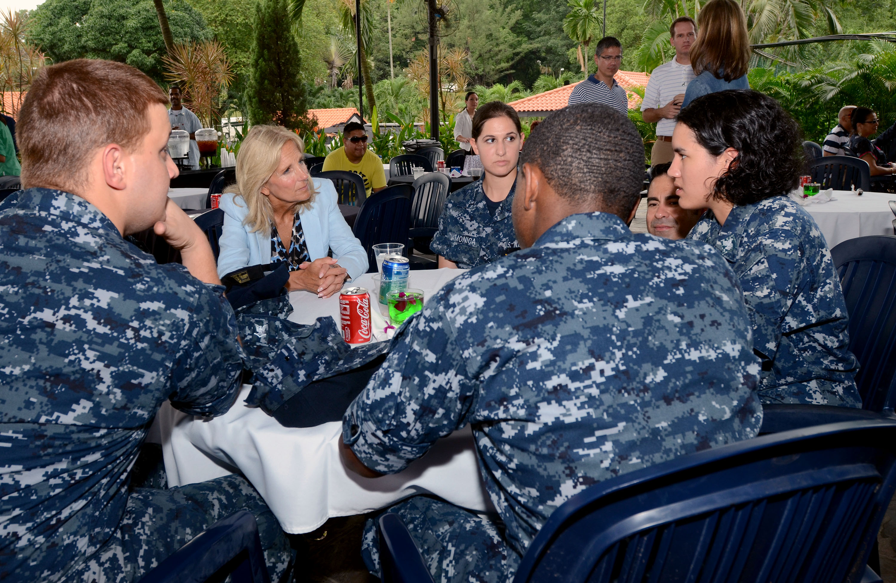 Dr. Jill Biden talks with members of the USS Fitzgerald during their stop in Singapore