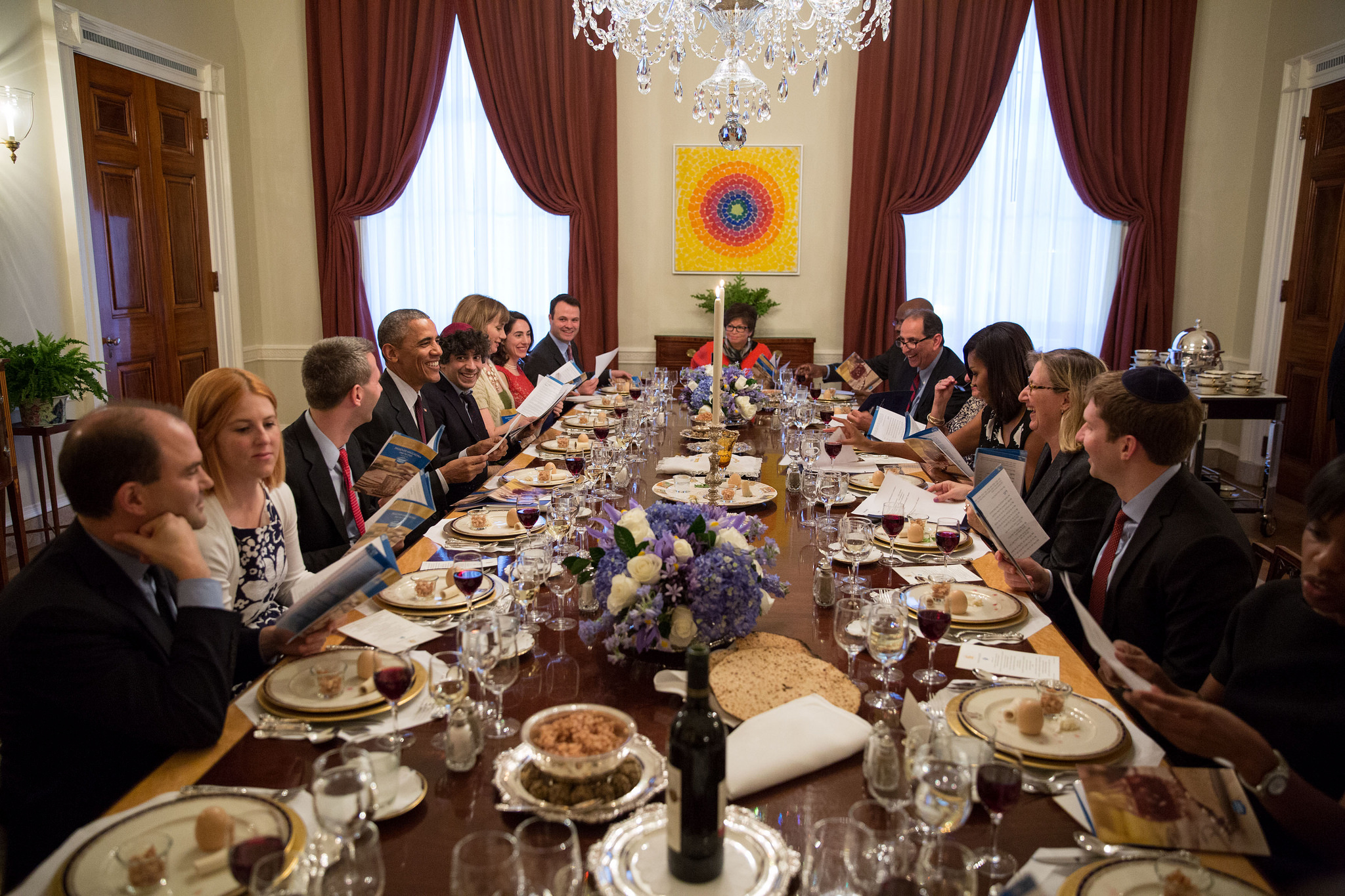 President Barack Obama and First Lady Michelle Obama host a Passover Seder dinner in the Old Family Dining Room